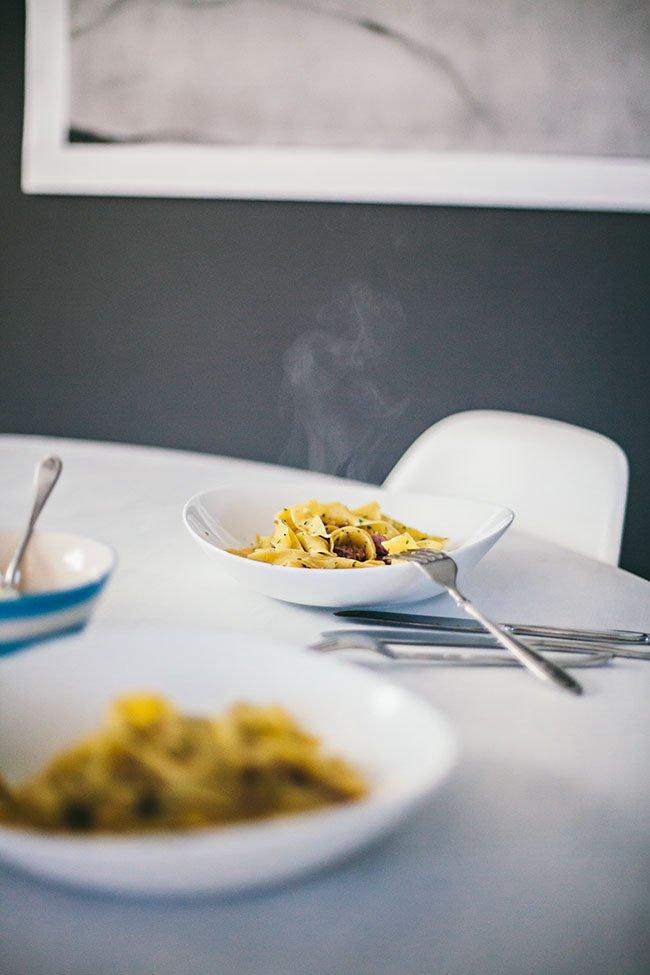 pasta - salsiccia - valnötter